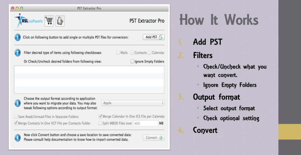 outlook pst file inot apple mail